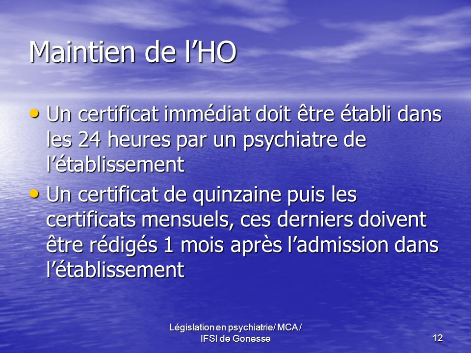Législation en psychiatrie/ MCA / IFSI de Gonesse