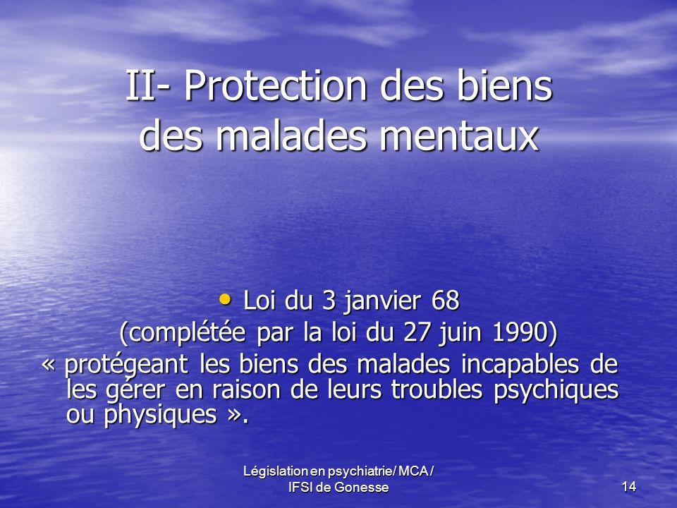 II- Protection des biens des malades mentaux