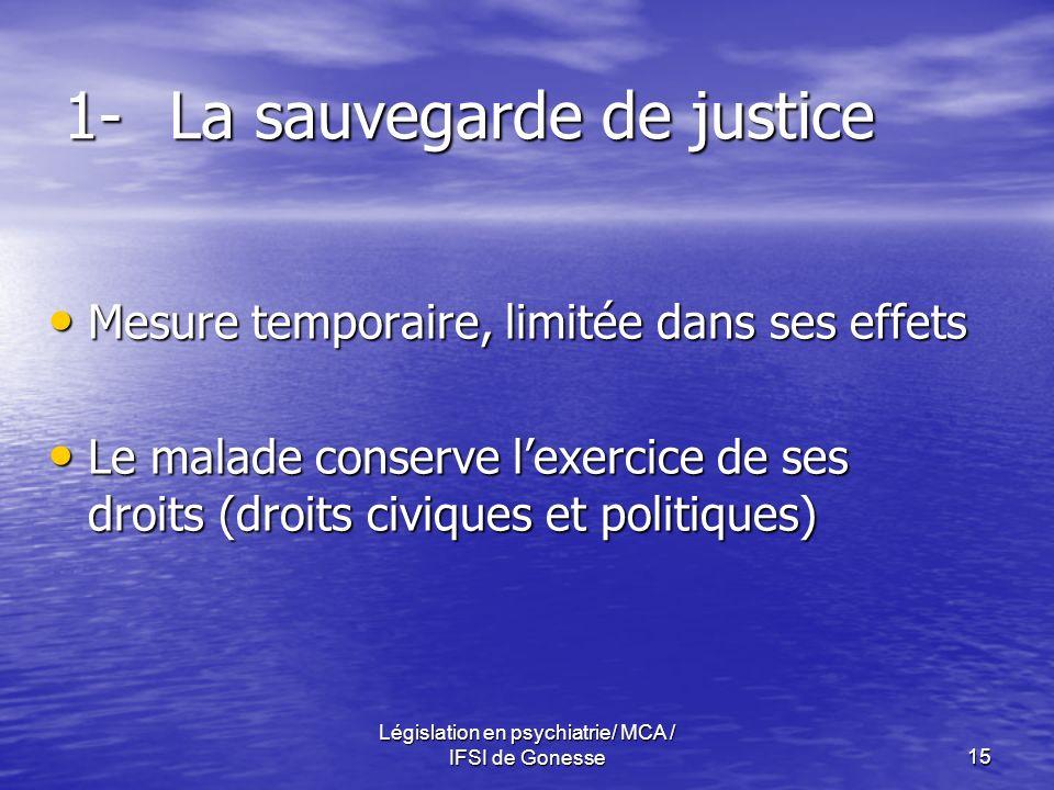 1- La sauvegarde de justice