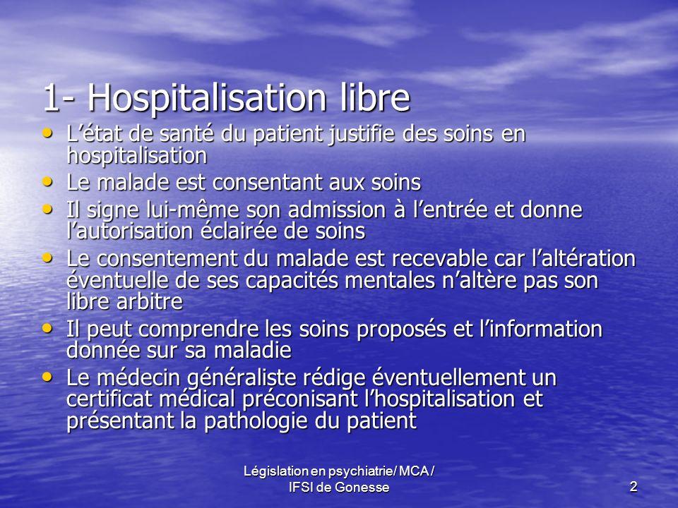 1- Hospitalisation libre