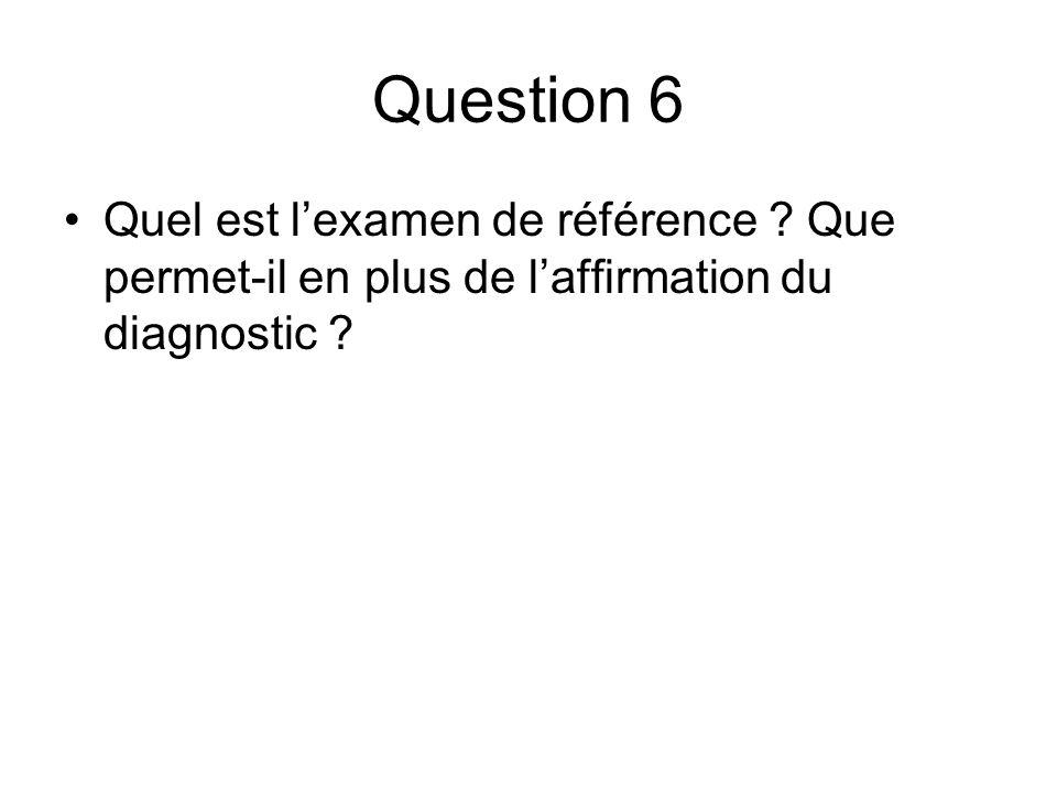 Question 6 Quel est l'examen de référence Que permet-il en plus de l'affirmation du diagnostic