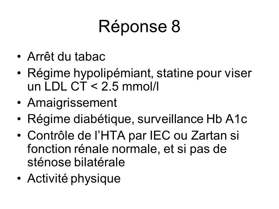 Réponse 8 Arrêt du tabac. Régime hypolipémiant, statine pour viser un LDL CT < 2.5 mmol/l. Amaigrissement.