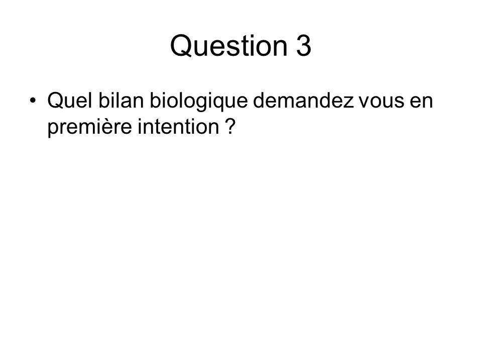 Question 3 Quel bilan biologique demandez vous en première intention