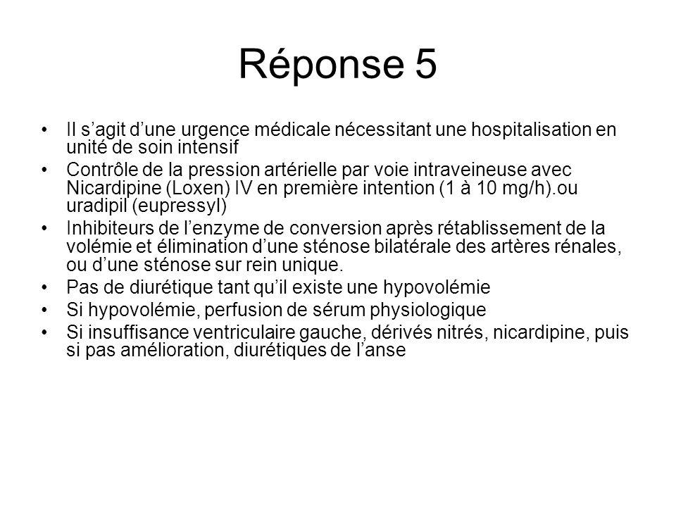 Réponse 5 Il s'agit d'une urgence médicale nécessitant une hospitalisation en unité de soin intensif.