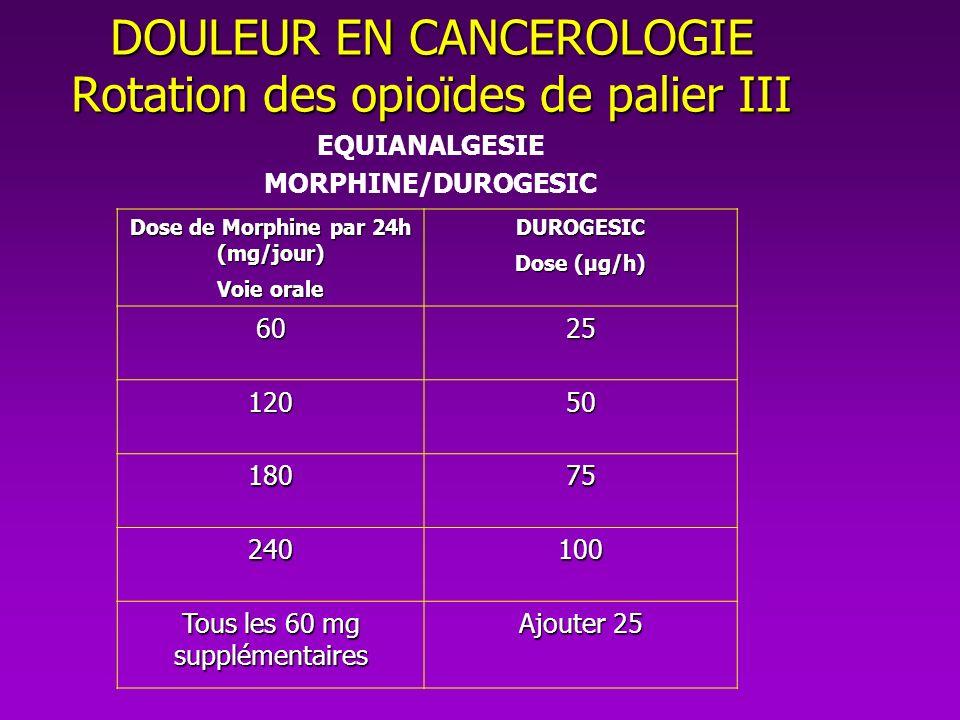 DOULEUR EN CANCEROLOGIE Rotation des opioïdes de palier III