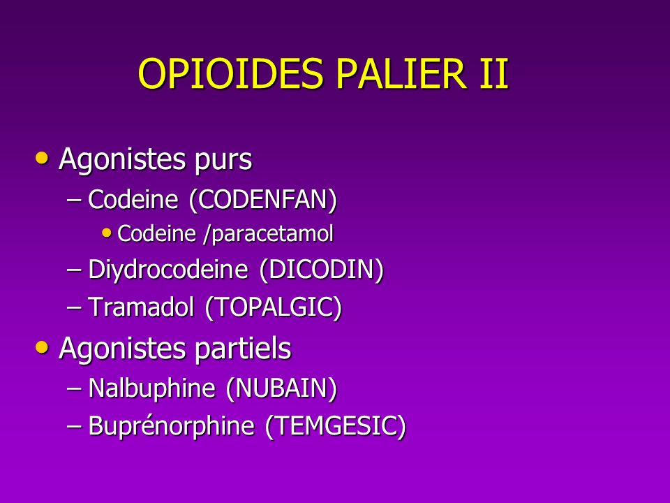 OPIOIDES PALIER II Agonistes purs Agonistes partiels