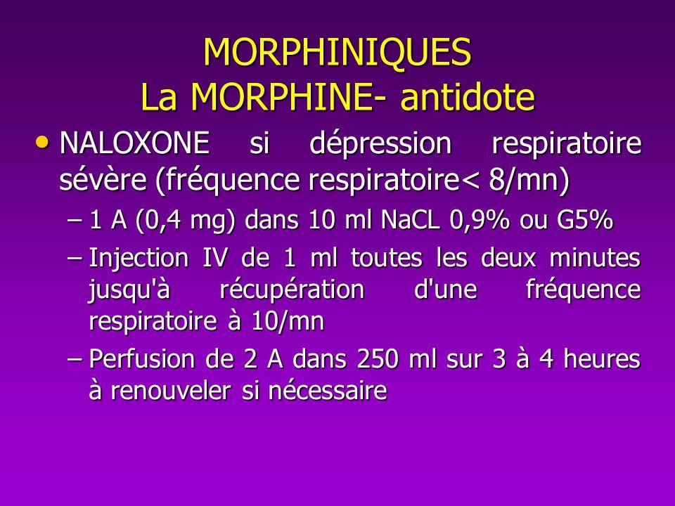 MORPHINIQUES La MORPHINE- antidote