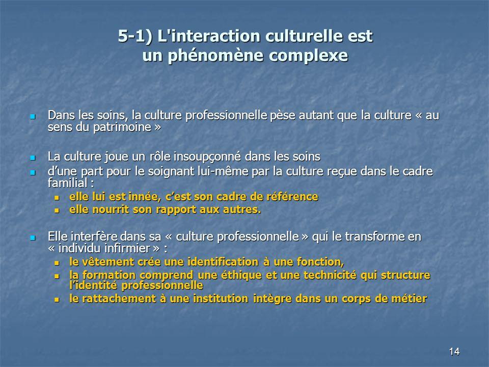 5-1) L interaction culturelle est un phénomène complexe