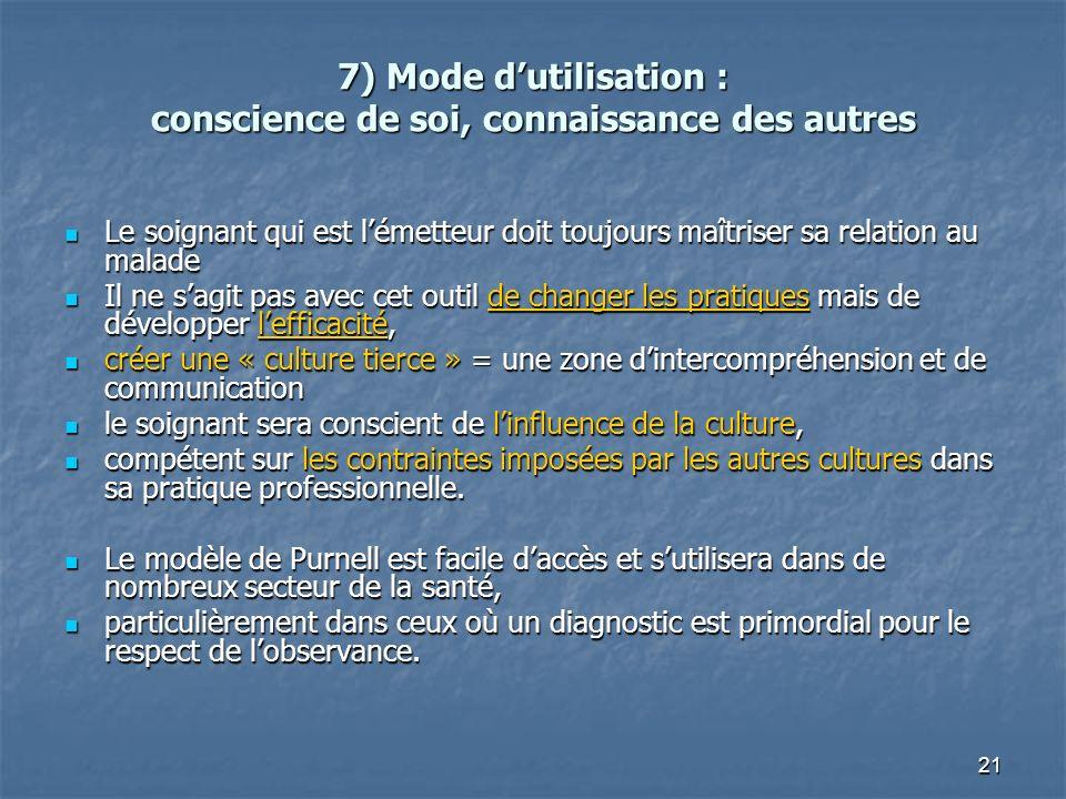 7) Mode d'utilisation : conscience de soi, connaissance des autres