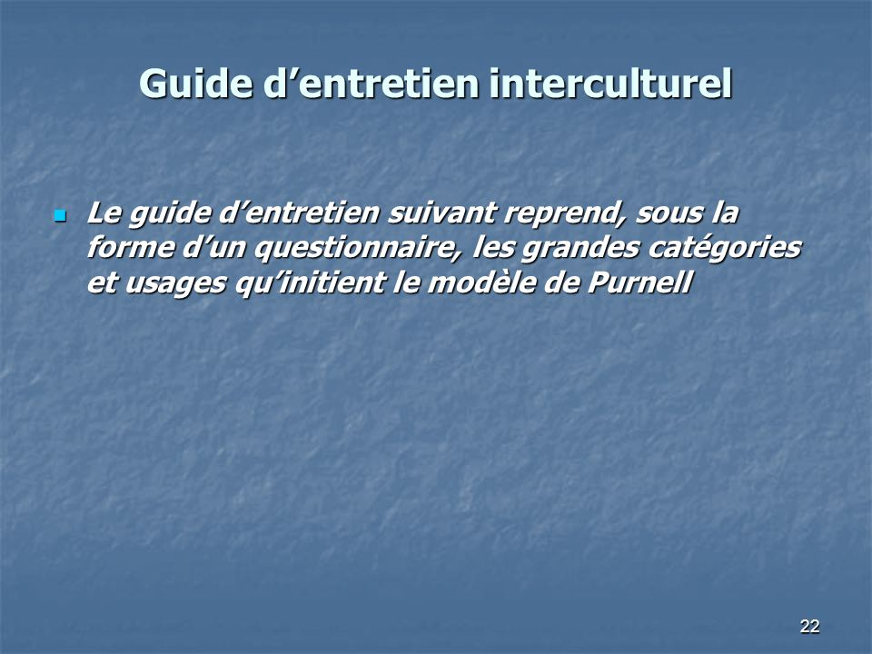 Guide d'entretien interculturel