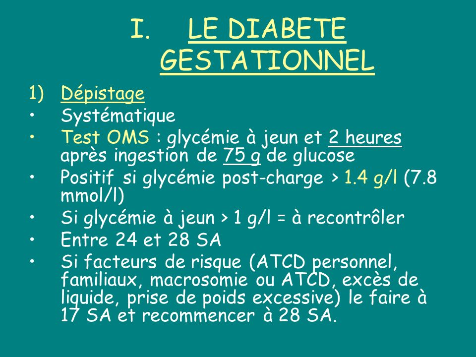 LE DIABETE GESTATIONNEL