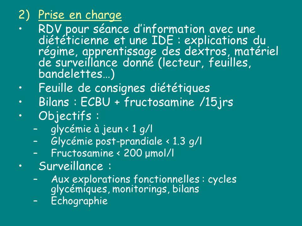 Feuille de consignes diététiques Bilans : ECBU + fructosamine /15jrs