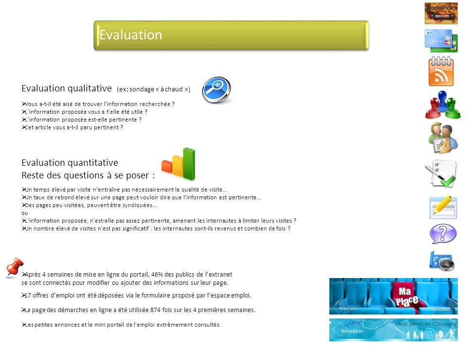 Evaluation Evaluation qualitative (ex: sondage « à chaud »)