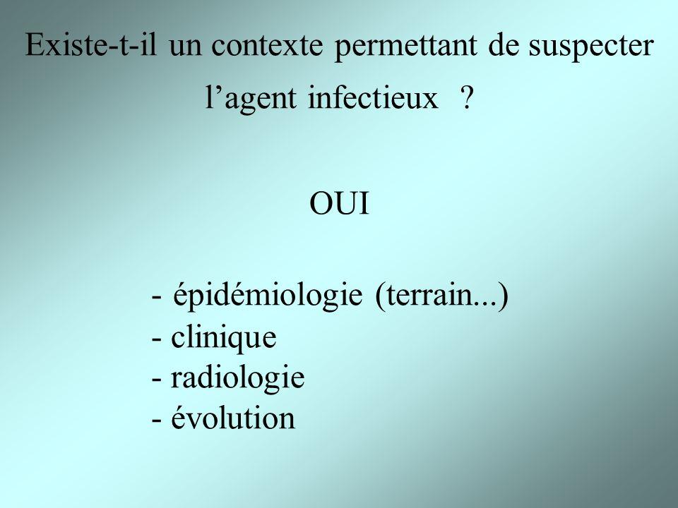 Existe-t-il un contexte permettant de suspecter l'agent infectieux OUI