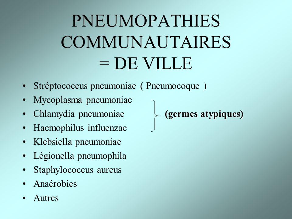 PNEUMOPATHIES COMMUNAUTAIRES = DE VILLE