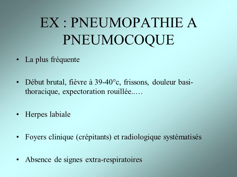 EX : PNEUMOPATHIE A PNEUMOCOQUE