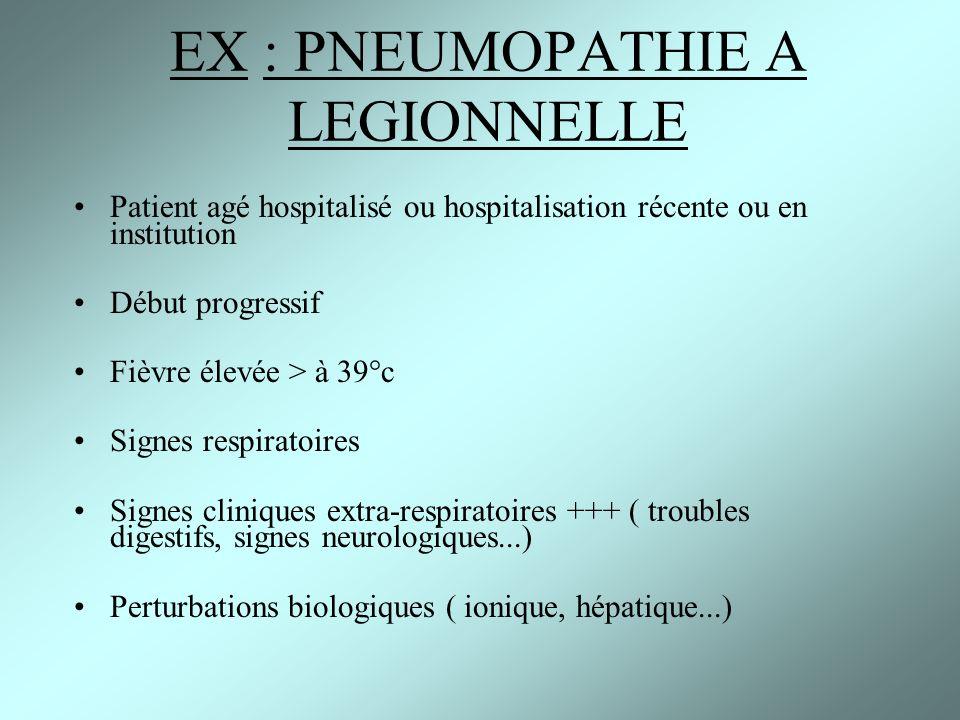 EX : PNEUMOPATHIE A LEGIONNELLE