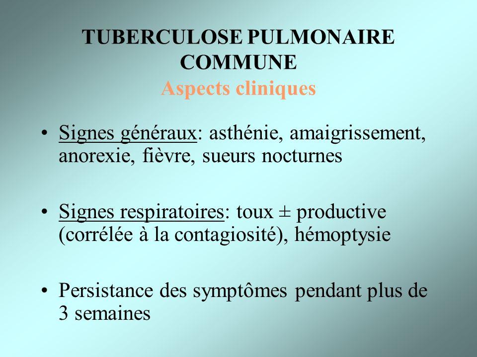 TUBERCULOSE PULMONAIRE COMMUNE Aspects cliniques