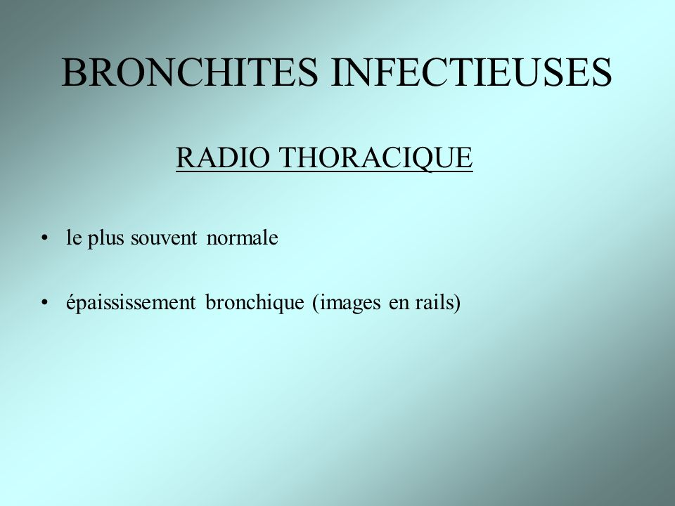 BRONCHITES INFECTIEUSES