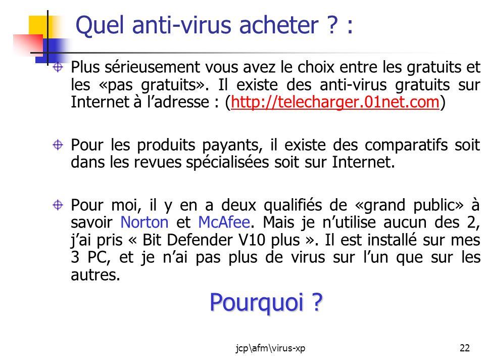 Quel anti-virus acheter :