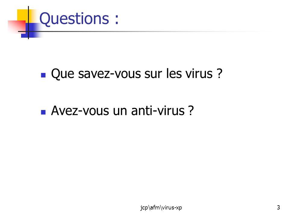 Questions : Que savez-vous sur les virus Avez-vous un anti-virus
