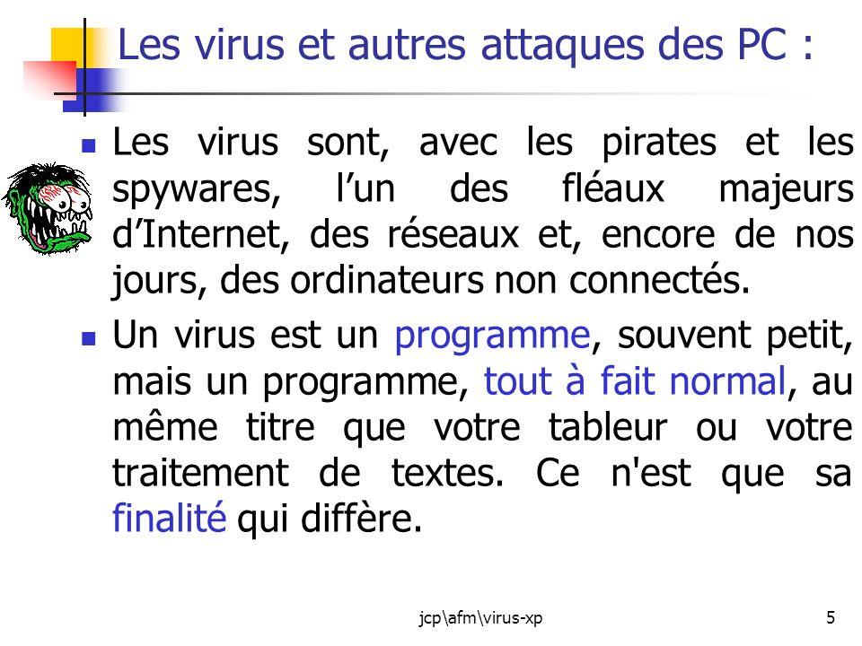 Les virus et autres attaques des PC :