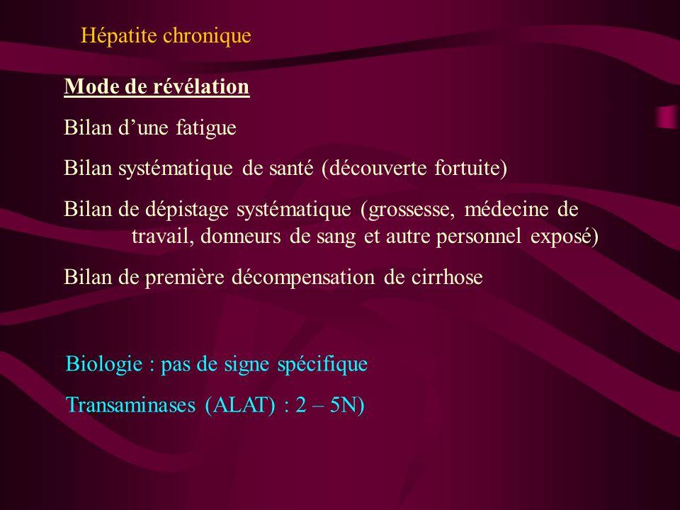 Hépatite chroniqueMode de révélation. Bilan d'une fatigue. Bilan systématique de santé (découverte fortuite)