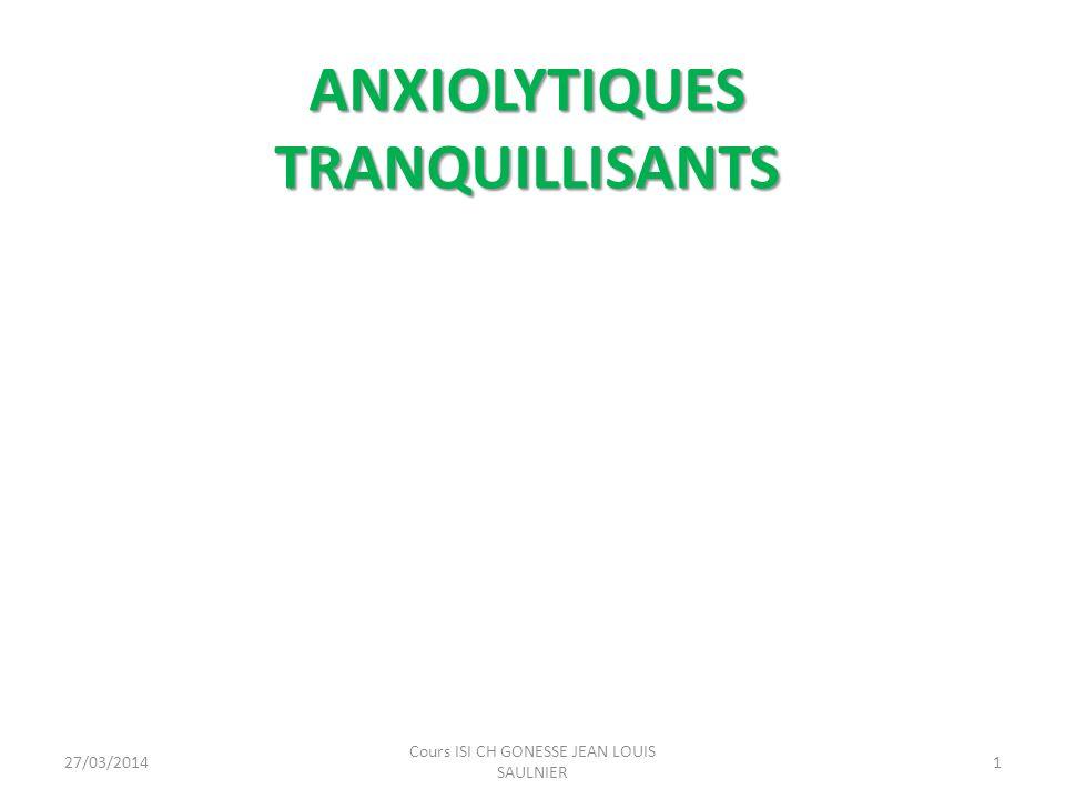 ANXIOLYTIQUES TRANQUILLISANTS