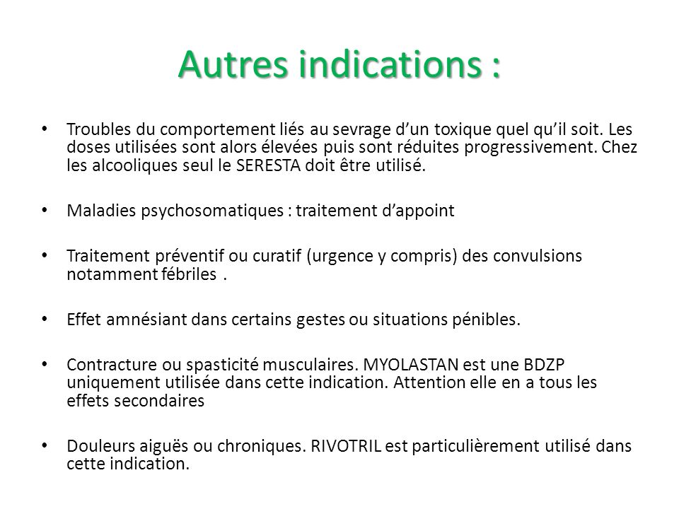 Autres indications :
