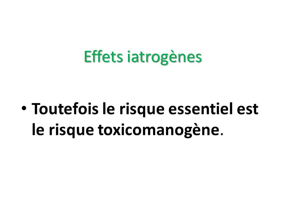 Effets iatrogènes Toutefois le risque essentiel est le risque toxicomanogène.