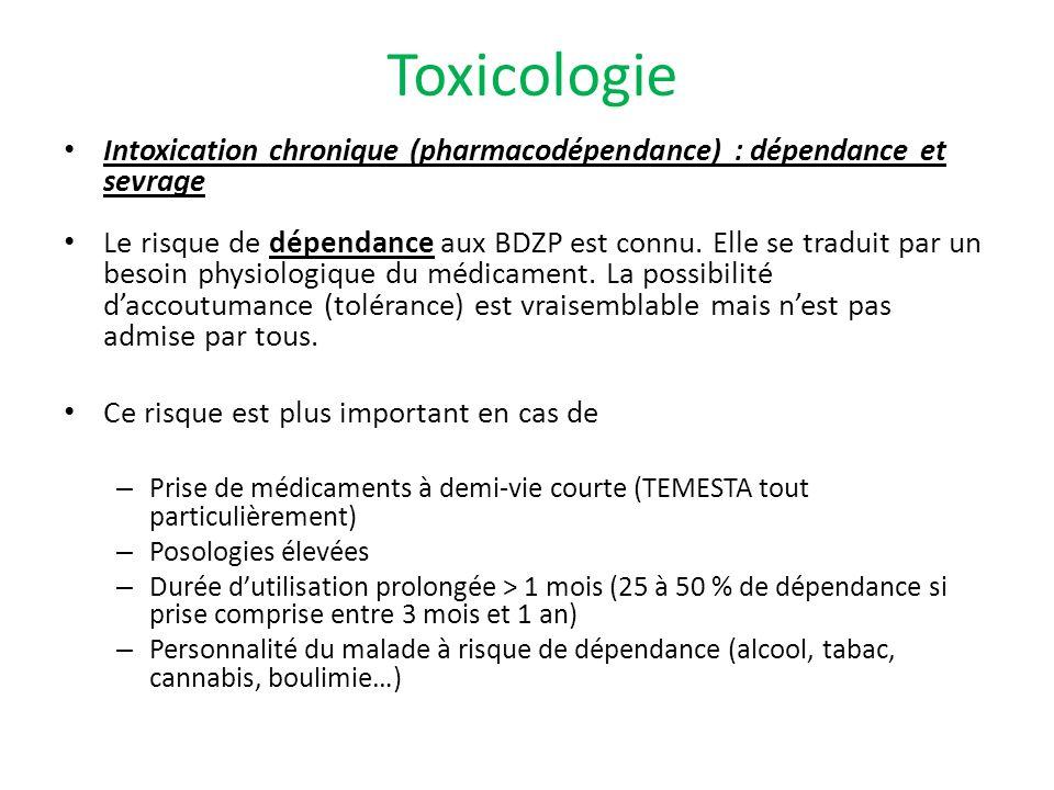 Toxicologie Intoxication chronique (pharmacodépendance) : dépendance et sevrage.