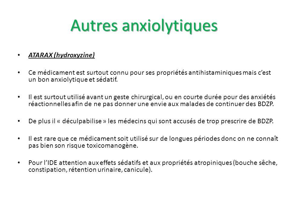 Autres anxiolytiques ATARAX (hydroxyzine)