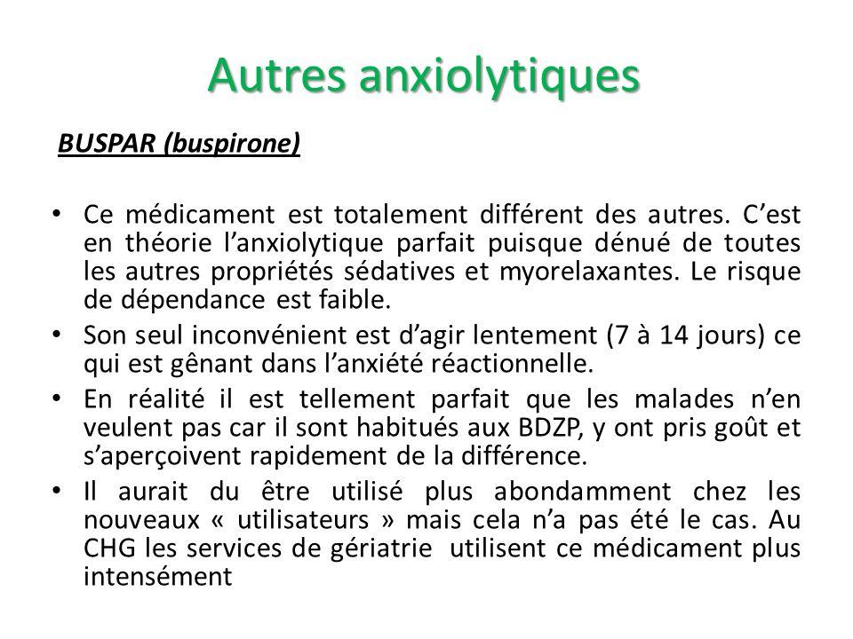 Autres anxiolytiques BUSPAR (buspirone)