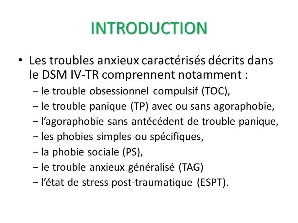 INTRODUCTION Les troubles anxieux caractérisés décrits dans le DSM IV-TR comprennent notamment : − le trouble obsessionnel compulsif (TOC),