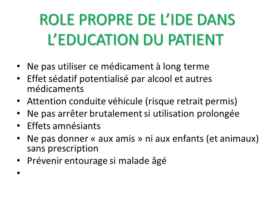 ROLE PROPRE DE L'IDE DANS L'EDUCATION DU PATIENT