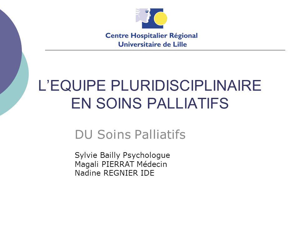 L'EQUIPE PLURIDISCIPLINAIRE EN SOINS PALLIATIFS