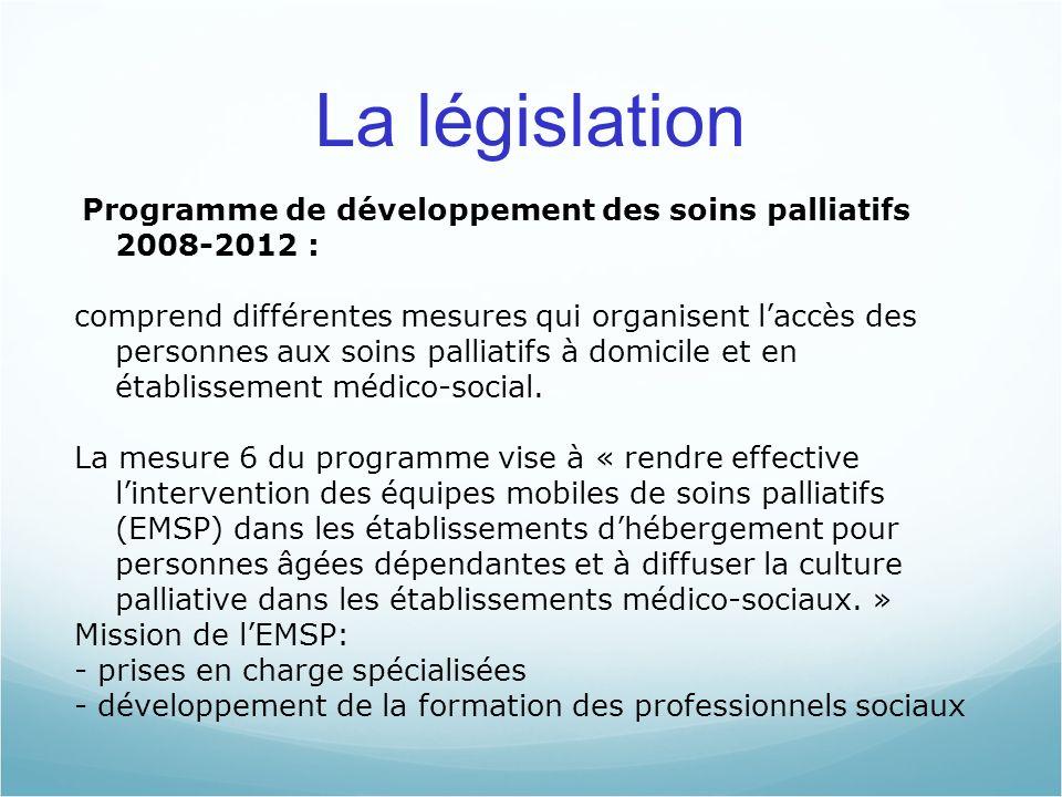 06/05/10 06/05/10. La législation. Programme de développement des soins palliatifs 2008-2012 :