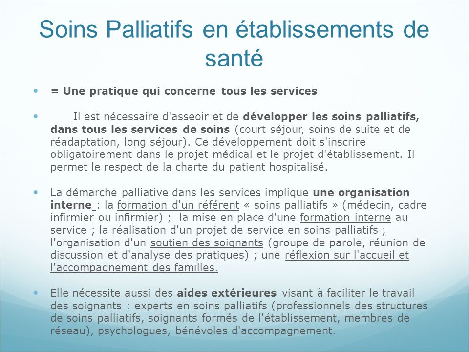 Soins Palliatifs en établissements de santé