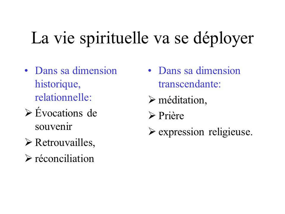 La vie spirituelle va se déployer