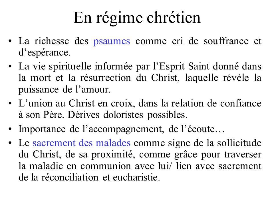 En régime chrétien La richesse des psaumes comme cri de souffrance et d'espérance.