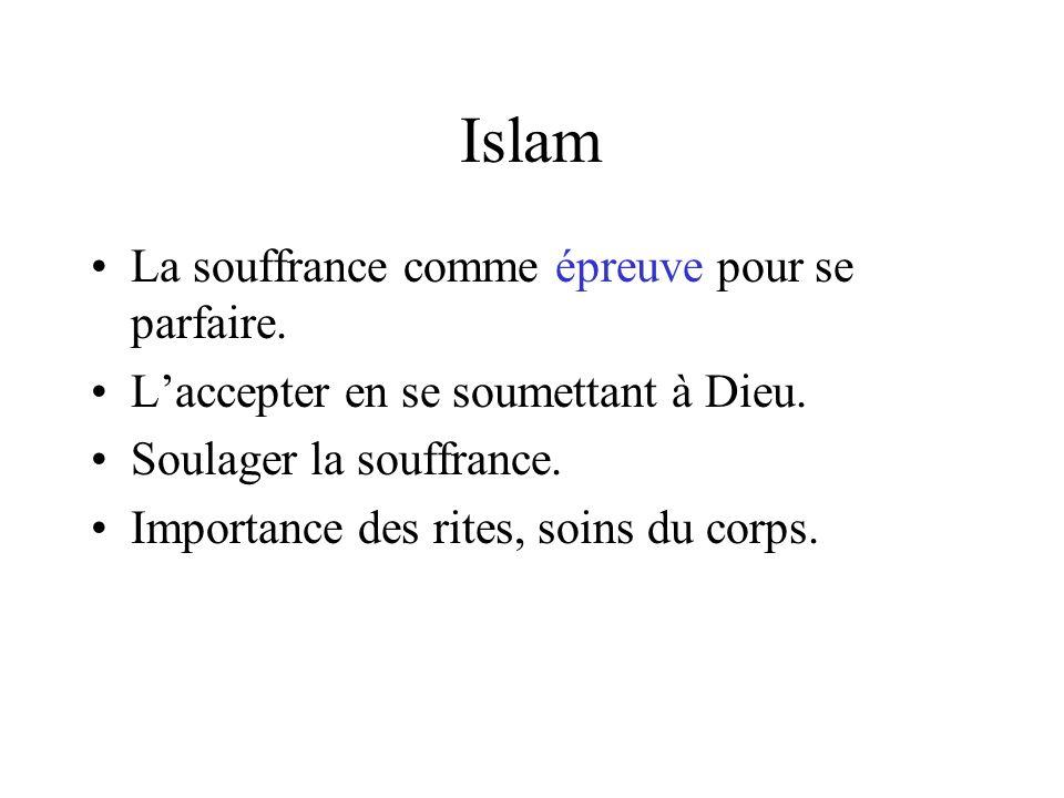 Islam La souffrance comme épreuve pour se parfaire.