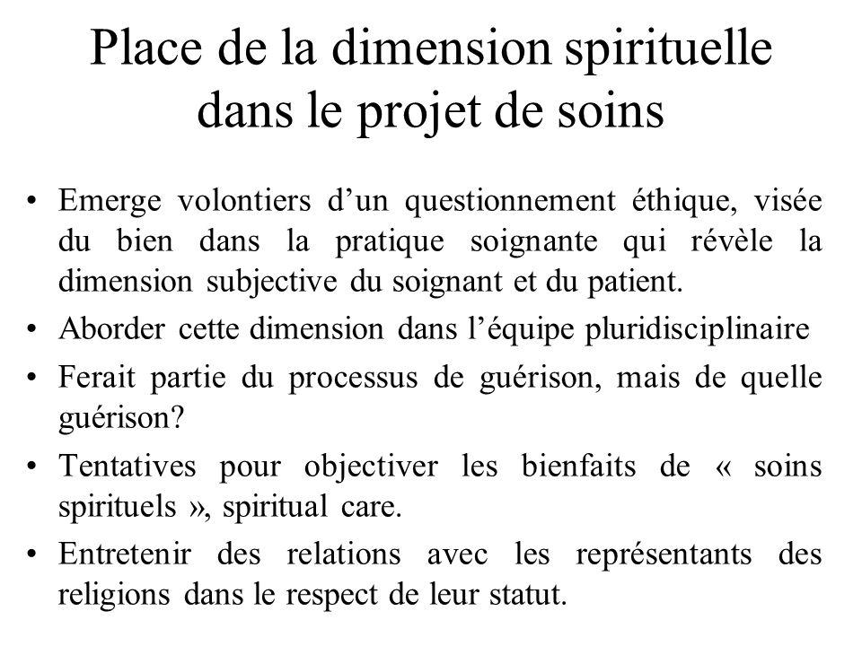 Place de la dimension spirituelle dans le projet de soins