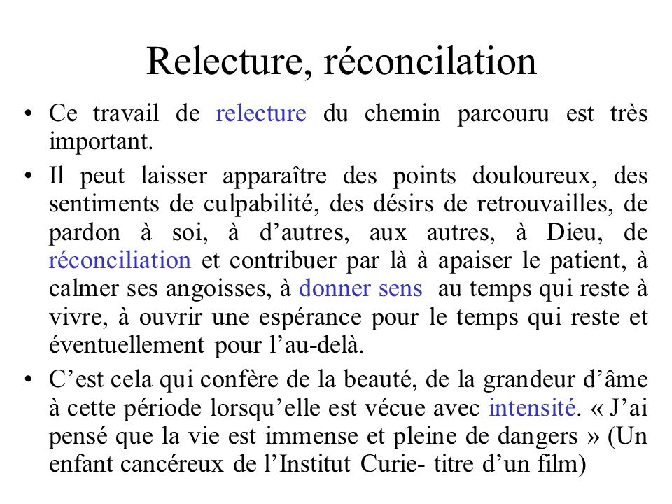 Relecture, réconcilation