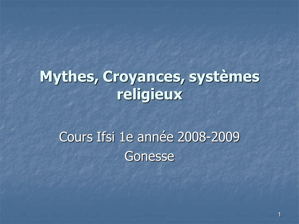 Mythes, Croyances, systèmes religieux
