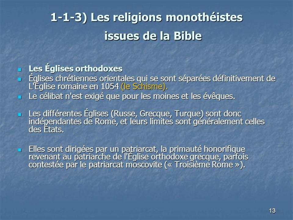 1-1-3) Les religions monothéistes issues de la Bible