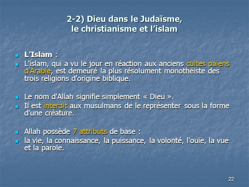 2-2) Dieu dans le Judaïsme, le christianisme et l'islam