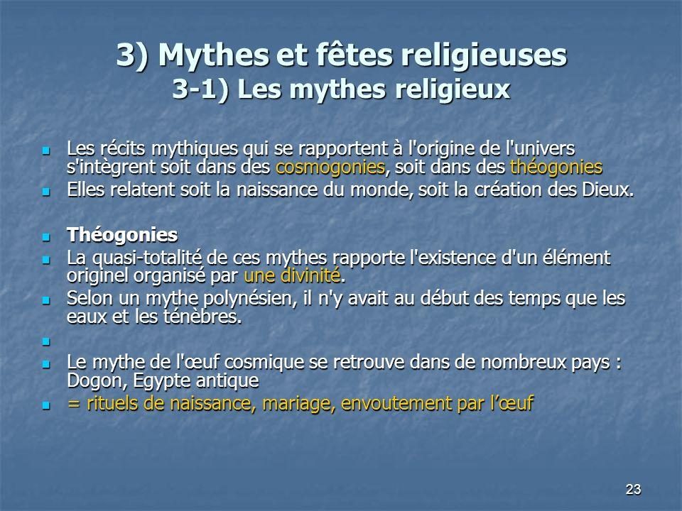 3) Mythes et fêtes religieuses 3-1) Les mythes religieux
