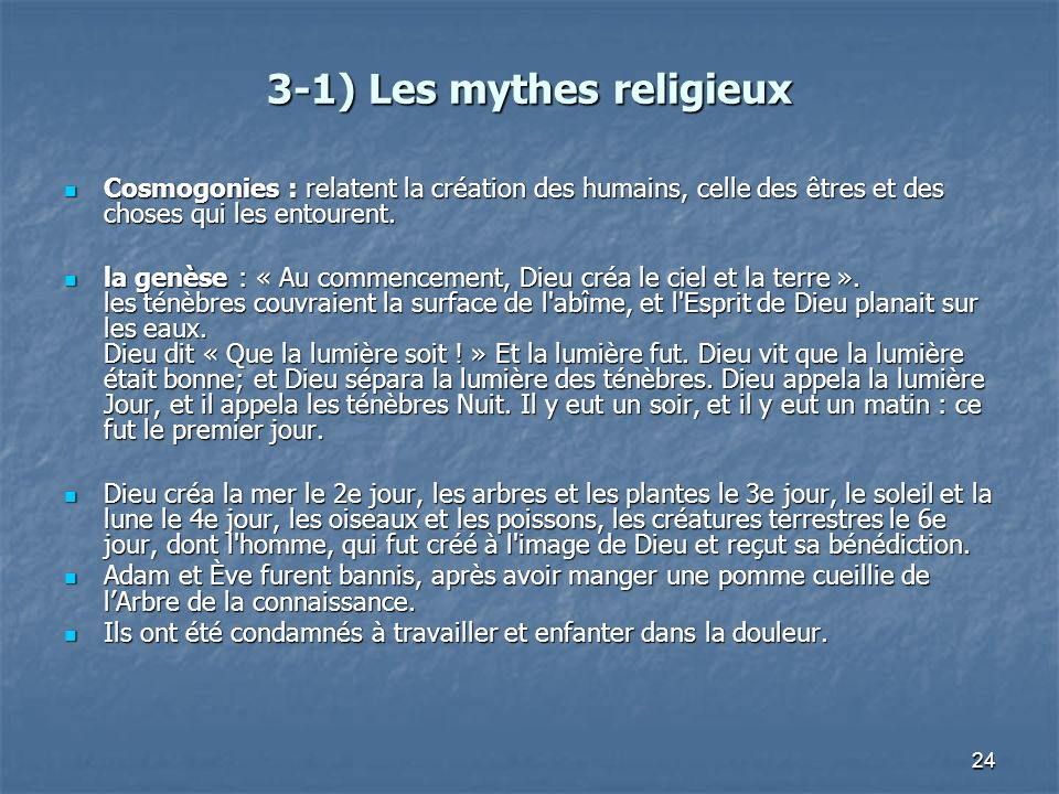 3-1) Les mythes religieux