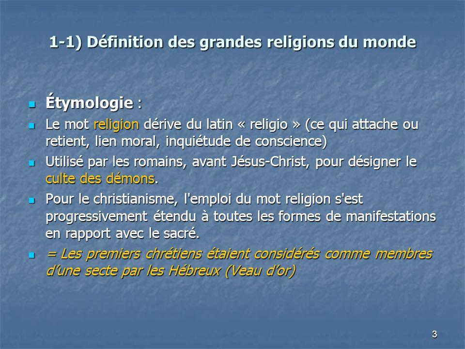 1-1) Définition des grandes religions du monde