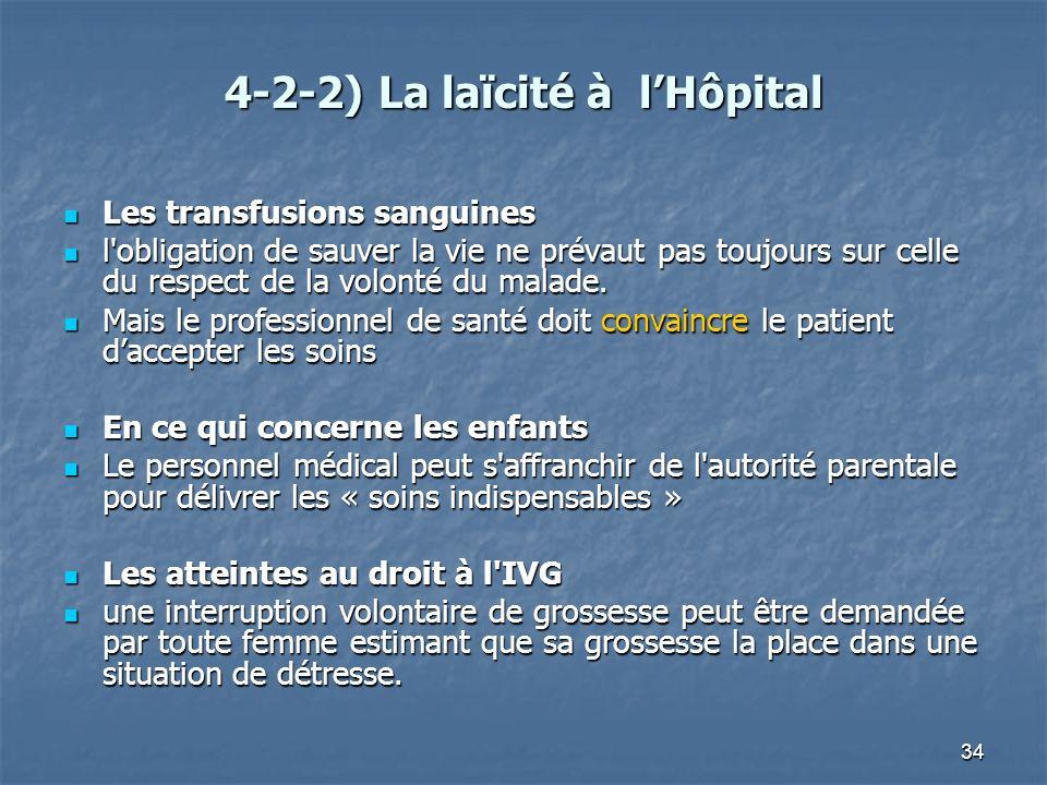 4-2-2) La laïcité à l'Hôpital